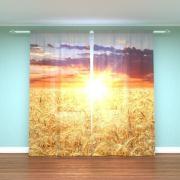 """Шторы лен 3d """"Пшеничное поле"""""""
