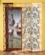 """Гардина-панно """"Kwiaty"""", на кулиске, цвет: капучино, высота 240 см"""
