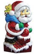 Новогоднее настенное панно ДЕД МОРОЗ НА КРЫШЕ, 19x52 см 3188-ny