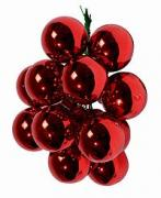 ГРОЗДЬ красных стеклянных глянцевых шариков на проволоке, 12 шаров по...