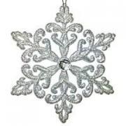 Снежинка КРИСТАЛЛ серебряная, 12 см, МОРОЗКО CV000-4