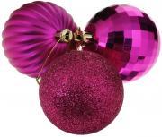 """Набор елочных украшений """"EuroHouse"""", цвет: розовый, диаметр 6 см, 3 шт"""
