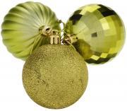 """Набор елочных украшений """"EuroHouse"""", цвет: желтый, диаметр 6 см, 3 шт"""