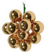 ГРОЗДЬ золотых стеклянных глянцевых шариков на проволоке, 12 шаров по...