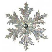 Снежинка МОРОЗКО серебряная голографическая, 12 см, МОРОЗКО CM000-4a