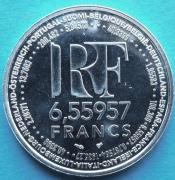Монета 6,55957 франка. Белый металл. Франция, 1999 год (Proof)
