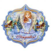 """Магнит Sima-land """"С Рождеством! Ангел с кроликом"""", 8,2 х 7,7 см"""