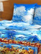 "Комплект белья ""Letto"", 1,5-спальное, наволочки 70x70, цвет: синий...."