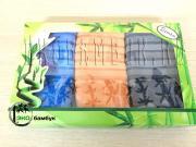 Набор подарочный бамбуковых полотенец 36x36 Синий-песочный-стальной