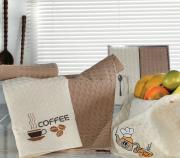 """Набор вафельных салфеток """"Кофе"""", цвет: кремовый, коричневый, 50 х 70..."""