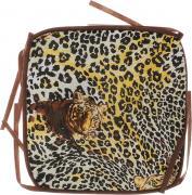 """Подушка на стул Eva """"Леопард, тигр"""", цвет: коричневый, желтый, 34 х 34..."""