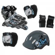 Комплект: коньки роликовые, шлем, защита. PW-117C