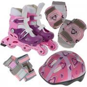 Комплект: коньки роликовые, шлем, защита. PW-120P