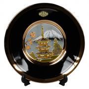Тарелка декоративная 15 см черная с подставкой Пагода в сакуре...