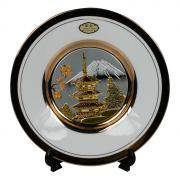 Тарелка декоративная 15 см белая с подставкой Пагода в сакуре (silver)...