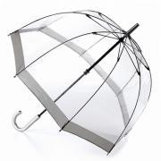 Аксессуары Fulton прозрачный зонт-трость (серебряный кант)
