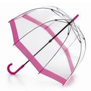 Аксессуары Fulton прозрачный зонт-трость (розовый кант)