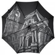 """Зонт-трость Flioraj """"Филадельфийская ратуша"""", полуавтомат, серый,..."""