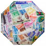 """Зонт женский Flioraj """"Почтовые марки"""", автомат, 3 сложения, белый,..."""