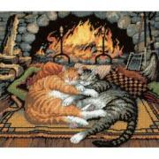 """Набор для вышивания крестом Dimensions """"Кошки у камина"""", 35,5 см х..."""