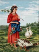 Luca-S Набор для вышивания гобелена Девочка с гусями. По картине В.Е....