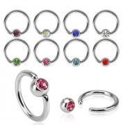 Кольцо для пирсинга PiercedFish RS03 с кристаллом