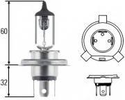Лампа накаливания H4 24V 75/70W P 43t Heavy Duty HELLA 8GJ002525281
