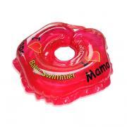Детский надувной круг для купания красный полноцветный baby swimmer