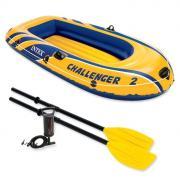 Лодка Intex Challeneger 2, цвет: желтый с синим. 68367NP