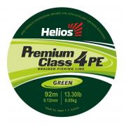 Шнур плетёный Helios Premium Class 4 PE Braid 0.12mm 135m Green...