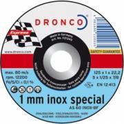 1121240 DRONCO AS 60 T Inox 1 mm отрезной круг по металлу 125x1x22,23