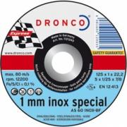 1111240 DRONCO AS 60 T Inox 1 mm отрезной круг по металлу 115x1x22,23