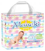 Maneki Подгузники детские одноразовые Mini размер M 6-11 кг 24 шт