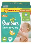 Pampers Подгузники Active Baby-Dry 8-14 кг (размер 4) 132 шт