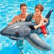 Надувная игрушка intex белая акула (большая), 173x107 см