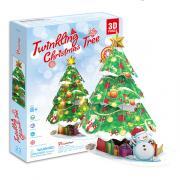 3D пазлы Cubic Fun P680h Кубик фан Новогодняя елка с подсветкой