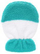 Riffi Мочалка-рукавица, детская, двусторонняя, цвет: белый, бирюзовый....