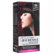 Richenna Крем-краска для волос, с хной, оттенок 1N Натуральный черный