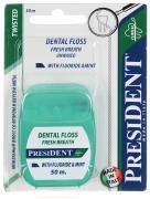 """Зубная нить """"President"""", с фтором, мятная, 50 м"""