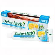 Зубная паста отбеливающая c солью и лимоном dabur + щётка (в подарок)