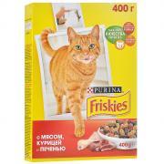 """Корм сухой для кошек """"Friskies"""", с мясом, курицей и печенью, 400 г"""