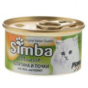 """Консервы для кошек Monge """"Simba"""", мусс с телятиной и почками, 85 г"""