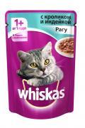 """Консервы для взрослых кошек """"Whiskas"""", рагу с кроликом и индейкой, 85..."""
