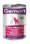 Gemon Dog Medium консервы для собак средних пород кусочки говядины с...