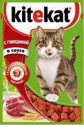 """Консервы """"Kitekat"""" для взрослых кошек, с говядиной в соусе, 85 г"""