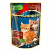 """Консервы для котят """"Ночной охотник"""", с телятиной и ягненком в желе,..."""