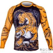 Рашгард Venum Tiger Rash Guard - Long Sleeves - Black/Orange Venum