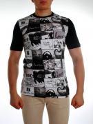 Стильная и удобная футболка из хлопка с черно-белым газетным принтом...