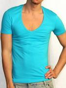 Мужская бирюзовая футболка с широким воротником Doreanse Macho Style...