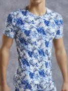 Стильная белая мужская футболка с принтом в виде листьев тропических...